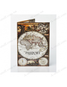 "Cover on the passport eco-leather ""Ancient Map"""