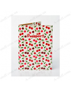 """Cover on the passport eco-leather """"Cherries"""""""