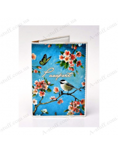 "Cover on the passport eco-leather ""Birds on flowering branches"""