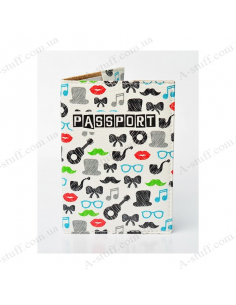 "Cover on the passport eco-leather ""Tube, mustache, lips, guitar, cylinder, glasses"""
