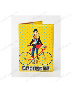 "Cover on the passport eco-leather ""The girl and the bike"""