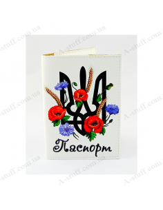 """Cover on the passport eco-leather """"The Coat Of Arms and flowers"""""""