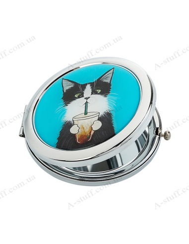"""Pocket mirror """"Cat with a glass"""""""