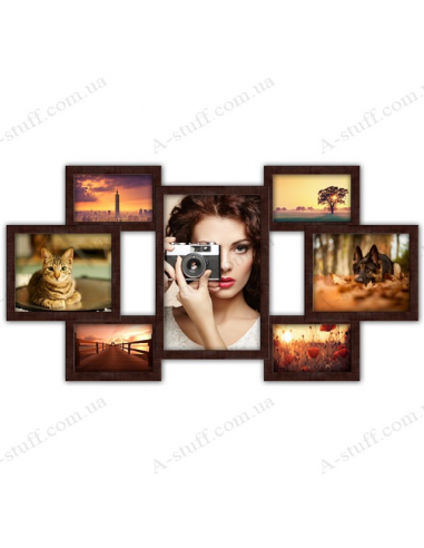 """Multiframe for 7 photo """"Seven Wishes"""", wenge"""