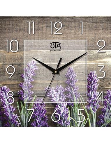 """Настінний годинник """"Лаванда на фоні з дерева"""""""