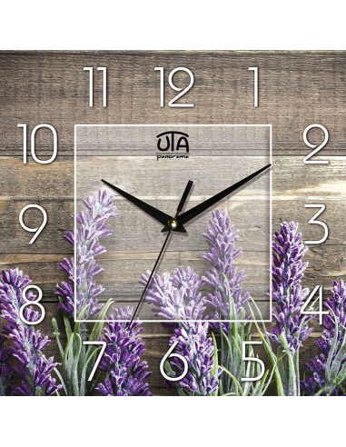 "Wall clock ""Lavender on a background of a tree"""