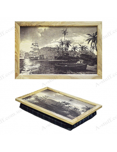 """Tray on a pillow laptop / breakfast """"The palm trees and the ship"""""""