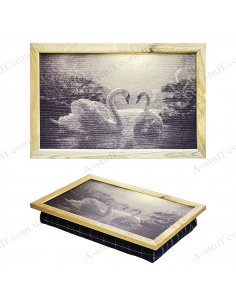 """Tray on a pillow laptop / breakfast """"Two swans"""""""