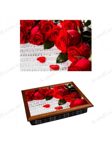 """Таця на подушці для ноутбука / сніданку """"Червоні троянди і ноти"""""""