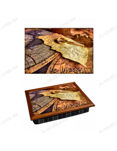 """Tray on a pillow laptop / breakfast """"Ancient Map"""""""