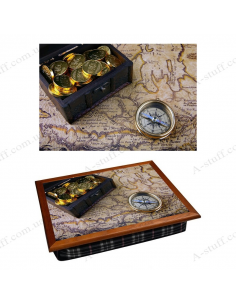 """Tray on a pillow laptop / breakfast """"Map, compass and trunk box"""""""