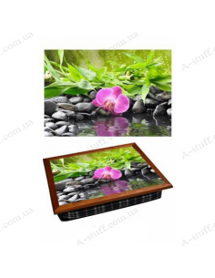 "Tray on a pillow laptop / breakfast ""Orchid on the water"""