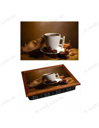 """Tray on a pillow laptop / breakfast """"Perfect morning coffee"""""""