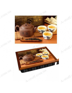 "Tray on a pillow laptop / breakfast ""Teapot and cups with tea"""