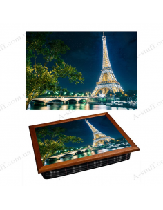 """Tray on a pillow laptop / breakfast """"The Eiffel Tower at night"""""""