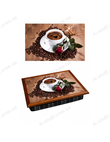 "Tray on a pillow laptop / breakfast ""Coffee and Rose"""