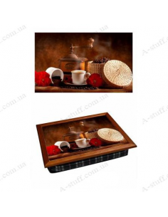 "Tray on a pillow laptop / breakfast ""Coffee Grinder 2"""