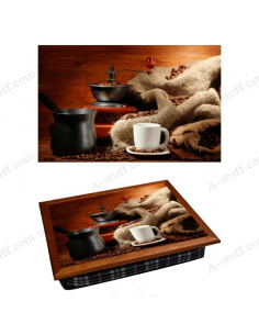 "Tray on a pillow laptop / breakfast ""Coffee Grinder 3"""