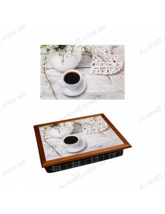 """Tray on a pillow laptop / breakfast """"Coffee and Romance"""""""