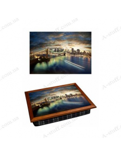 """Tray on a pillow laptop / breakfast """"New York view from Brooklyn"""""""