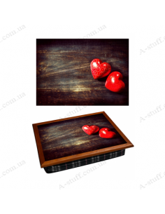 """Tray on a pillow laptop / breakfast """"Two hearts"""""""