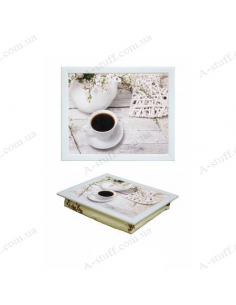 """Tray on a pillow laptop / breakfast """"Coffee and Romance 2"""""""