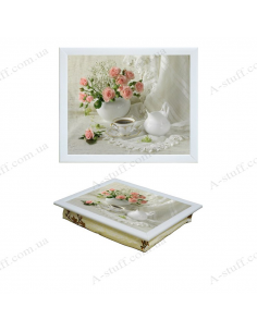 """Tray on a pillow laptop / breakfast """"Tea and bouquet of roses"""""""