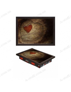 "Tray on a pillow laptop / breakfast ""Love in the heart"""