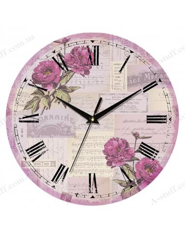 """Годинник настінний """"Квіти на нотах"""""""