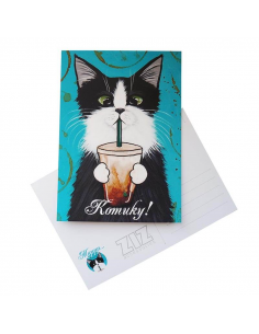 "Postcard ""Cat with a glass"""