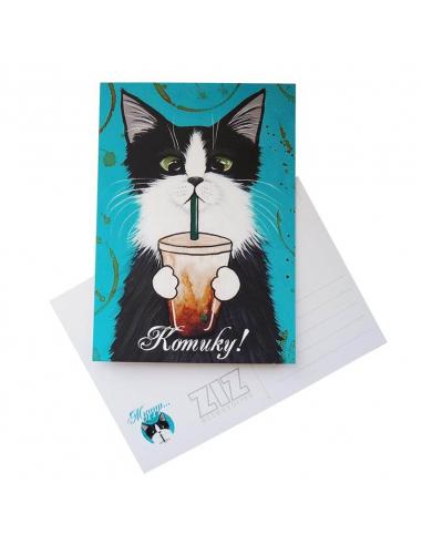 """Листівка """"Кіт зі склянкою"""""""