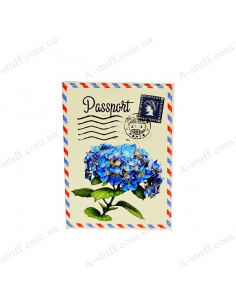 "Cover on the passport eco-leather ""Postcard with flower"""