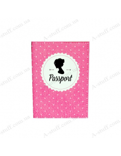 "Cover on the passport eco-leather ""Pink silhouette of the girl"""