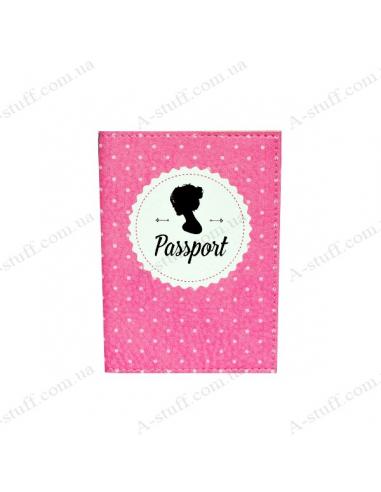"""Обкладинка на паспорт екошкіра """"Рожевий силует дівчини"""""""