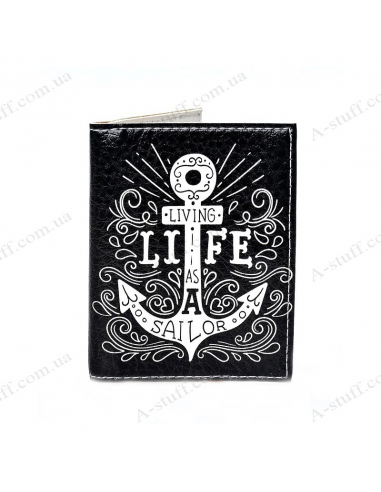 "Cover on the id passport eco leather ""Living life as a sailor"""