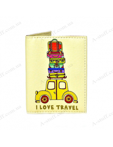 "Cover on the id passport eco leather ""I love travel"""