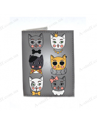 "Cover on the id passport eco leather ""Such different cats"""