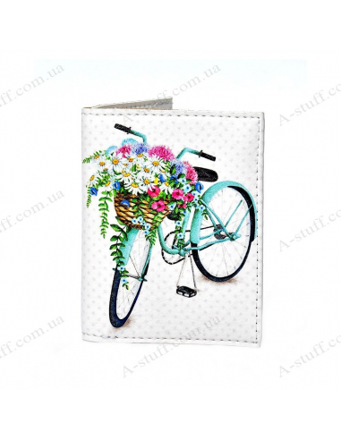 "Cover on the id passport eco leather ""Bicycle and flowers"""