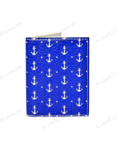"Cover on the id passport eco leather ""Anchors on the blue"""