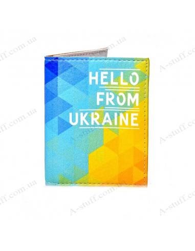 "Cover on the id passport eco leather ""Hello from Ukraine"""