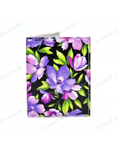 "Cover on the id passport eco leather ""Purple flowers on black"""