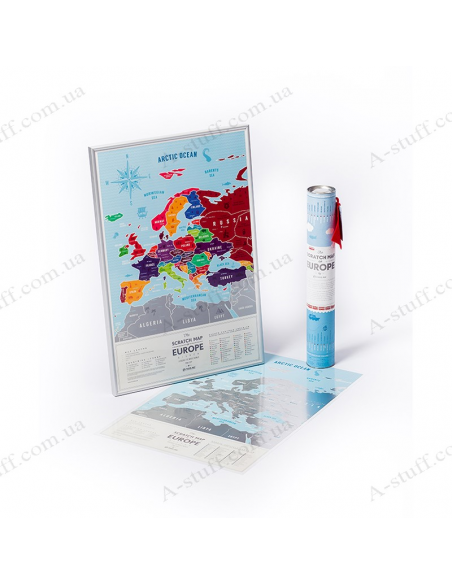 Scratch - Map of Europe Travel Map «Silver Europe» (in English)