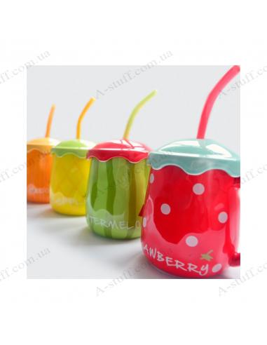 Чашка з кришкою і соломинкою «Нахабний фрукт»