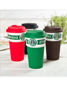 "Glass with a lid ""Starbucks"""
