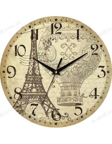 """Clock for wall """"The Eiffel Tower and the Balloon"""""""