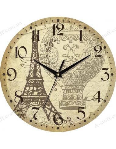 """Годинник настінний """"Ейфелева вежа і повітряна куля"""""""