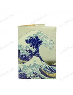 """Обкладинка на паспорт """"Японська хвиля"""""""