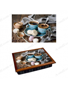 """Tray on a pillow laptop / breakfast """"Coffee and macaroons"""""""