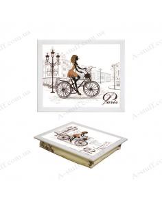 """Tray on a pillow laptop / breakfast """"Bike ride"""""""