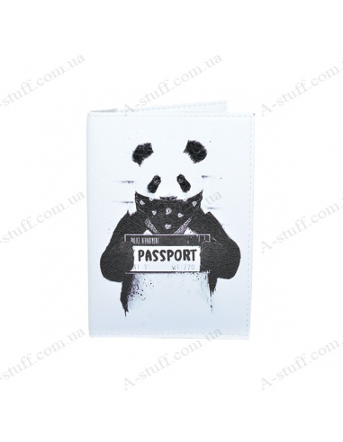 "Cover on the passport eco-leather ""Panda"""